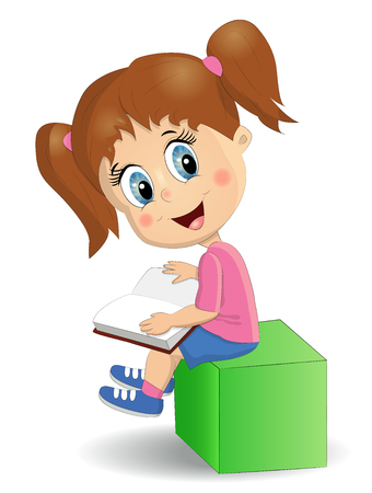 Illustration pour Cute, funny girl reads a book sitting on a green cube - image libre de droit