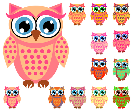 Illustration for Large set of cute multicolored cartoon owls for children, different designs, trendy coral color included - Royalty Free Image