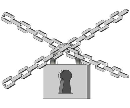The gray metal chain and padlock, handcuffed card