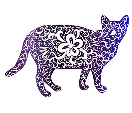 Illustration pour Elegant cat, silhouette, hand-painted in Indian style, print, design. The concept of grace, beauty of a cat, a unique pattern - image libre de droit