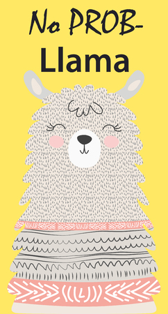 Illustration pour Hand drawn vector illustration of a cute funny llama. Isolated objects on white. Scandinavian style flat design. Inscription No Drama - Lama - image libre de droit