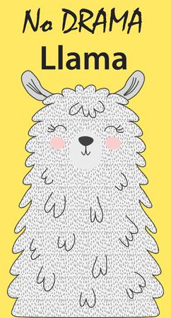 Ilustración de Hand drawn vector illustration of a cute funny llama. Isolated objects on white. Scandinavian style flat design. Inscription No Drama - Lama - Imagen libre de derechos