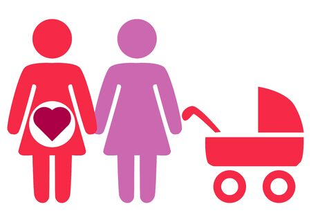 A schematic depiction of a family couple of lesbian women with children, icon