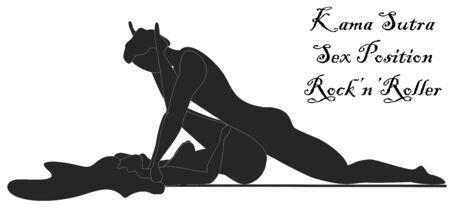 Illustration pour Kama Sutra, a man and a woman have sex. The art of love. Sexual position Rock n Roller - image libre de droit