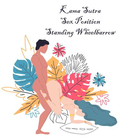 Illustration for Kama Sutra, a man and a woman have sex. The art of love. Sexual position Standing Wheelbarrow.Against the background of a bouquet of tropical leaves of palm trees, monster and flowers. Scandinavian - Royalty Free Image