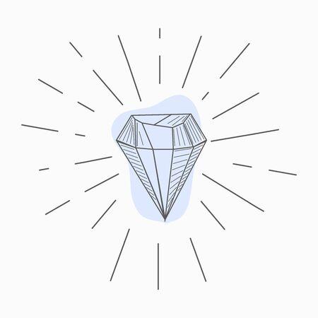 black and white simple line art symbol of diamond with rays around