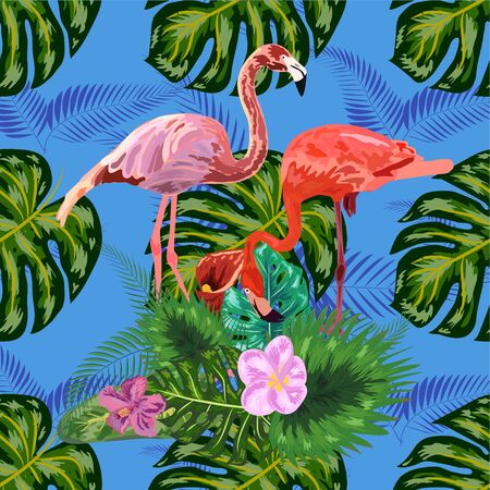 Illustration for Beautiful seamless floral exotic pattern with tropical flowers, palm leaves, jungle plants, hibiscus, bird of paradise flower, pink flamingos - Royalty Free Image