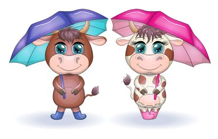 Cute cartoon couple cow and bull with umbrellas with beautiful big eyes. Symbol of the year 2021 according to the Chinese calendar. Children's illustration
