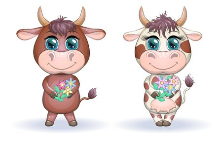 A cute cartoon couple of cow and bull in flowers with beautiful big eyes. Symbol of the year 2021 according to the Chinese calendar. Children's illustration.