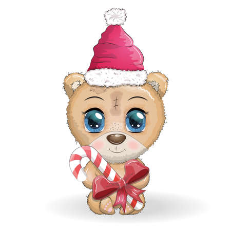 Illustration for Cute cartoon bear with big eyes in a Christmas hat with a caramel cane, Merry Christmas and New Year - Royalty Free Image