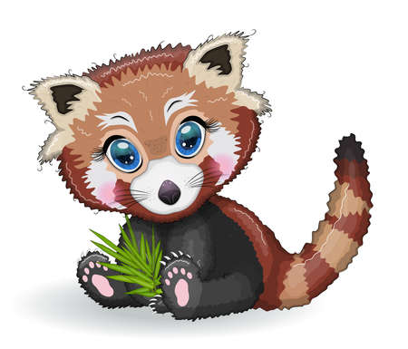 Illustration pour Red panda, cute character with bamboo leaves, greeting card, bright childish style. Rare animals, red book, cat, bear - image libre de droit