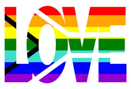 Illustration pour LGBT pride flag, Gay Pride Flag of South Africa. Multicolored peace flag movement. Original colors symbol. In the form of the word love - image libre de droit