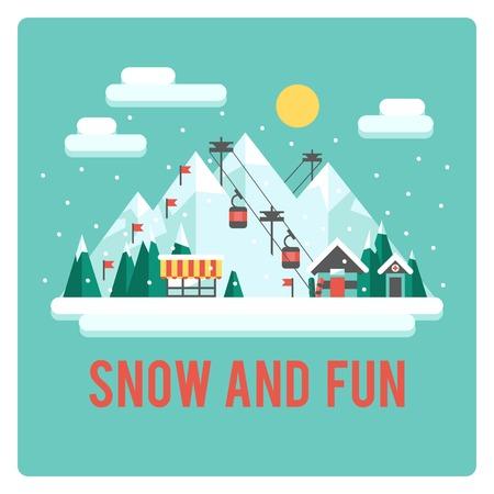 Ski resort in mSki resort in mountains, winter time, snow and funountains, winter time, snow and fun
