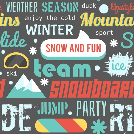 Seamless vector pattern with snowboarding stuff and words flat design