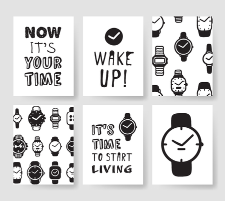 Illustration for Set of fashion cards. Hand drawn vector patterns hipster brochures. Modern artistic design with watches - Royalty Free Image