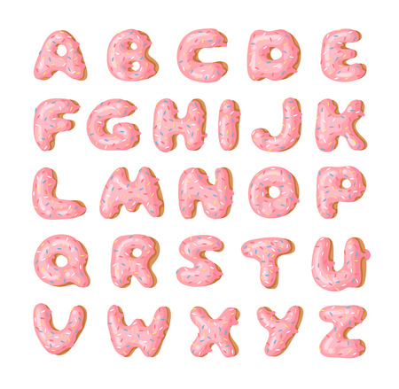Cartoon vector illustration pink donut ABC. Hand drawn font with sweet bun. Actual Creative art bake alphabet
