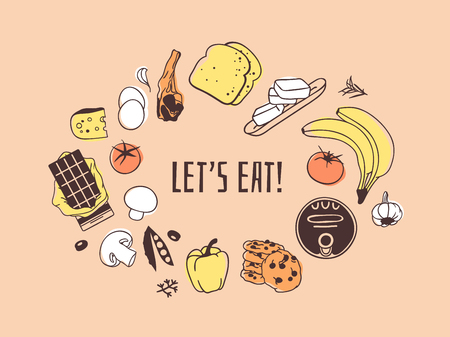 Illustration pour Hand drawn illustration food and quote. Creative ink art work. Actual vector drawing. Kitchen set and text LET'S EAT - image libre de droit