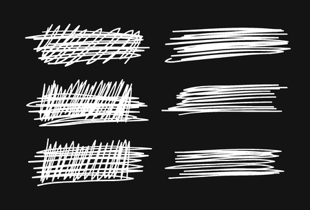 Hand drawn set of objects for design use. White Vector doodle crossed out lines on black background. Abstract pencil drawing stripes. Artistic illustration grunge elements strokes