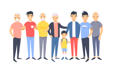 Illustration for Set of a group of different asian american men. Cartoon style characters of different ages. Vector illustration people - Royalty Free Image
