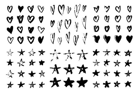 Illustration pour Set of hand drawn pattern with black paint object for design use. Abstract brush drawing. Vector art illustration grunge hearts, stars - image libre de droit