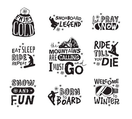 Ski Resort  icons with funny text. Ride and Snowboarding motivation badges. Hand drawn Riders quotes, travel labels