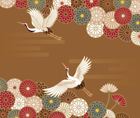 Illustration pour Cranes and chrysanthemums Japanese traditional pattern in gold background - image libre de droit