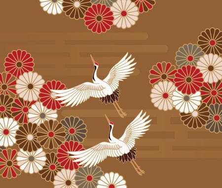 Ilustración de Cranes and chrysanthemums Japanese traditional pattern in gold background - Imagen libre de derechos