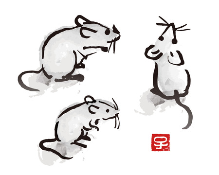 Illustration pour Indian ink brush painting mouse and rat illustration with red seal with Chinese zodiac symbol - image libre de droit