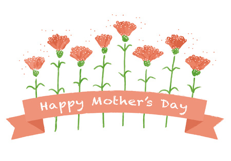 Illustration for Mother's day red carnation greeting card illustration - Royalty Free Image