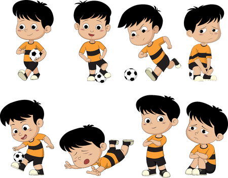 Illustration for Cartoon soccer kid with different pose. - Royalty Free Image