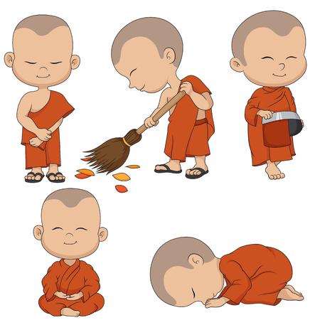 Illustration pour Set of cartoon monks. Vector and illustration. - image libre de droit