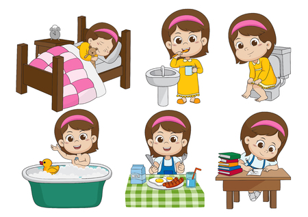 Illustration pour Set of daily cute girl,wake up,brushing teeth,kid pee,taking a bath,breakfast,kid writhing.vector and illustration. - image libre de droit