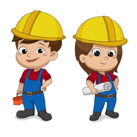 Illustration pour Set of cartoon Engineers.Vector and illustration. - image libre de droit