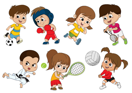 Illustration pour Children of various types of sports, such as soccer, boxing, running, badminton, taekwondo, play tennis, volleyball.Sports help make body strong and also build immunity for kids. - image libre de droit