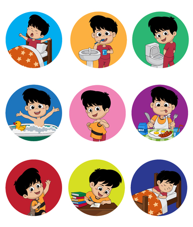 Illustration pour Set of daily cute boy.Boy wake up,brushing teeth,kid pee,taking a bath,dressed up,breakfast,kid learning,kid sleep.vector and illustration. - image libre de droit