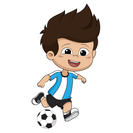 Ilustración de Kid kicks a ball.Vector and illustration. - Imagen libre de derechos