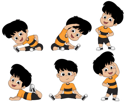 Illustration pour Kids are warming up with different gestures.Vector and illustration. - image libre de droit
