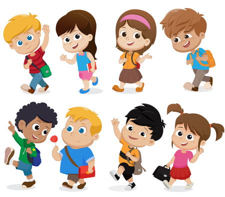 Illustration for kid walking to school.back to school.Vector and illustration. - Royalty Free Image