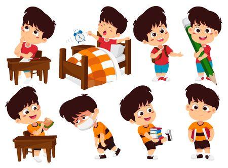Illustration pour Set of kid activity, kid think, wake up, holding a big pencil, eat sandwich, sick, holding a book. Vector and illustration. - image libre de droit