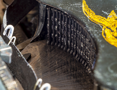 Berlin, Germany - February 16, 2019: Detail of a historic dusty portable typewriter made in Germany during the twenties of the 20th century.