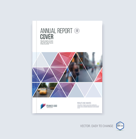 Brochure template layout, cover design annual report, magazine, flyer or booklet in A4 with blue red  geometric shapes on polygonal background.