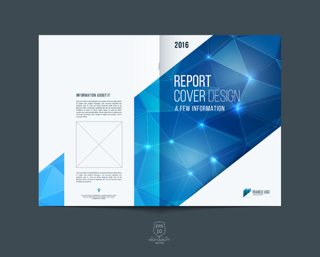 Illustration for Brochure template layout, cover design annual report, magazine, flyer or booklet in A4 with blue dynamic diagonal rectangular geometric shapes on polygonal background. - Royalty Free Image