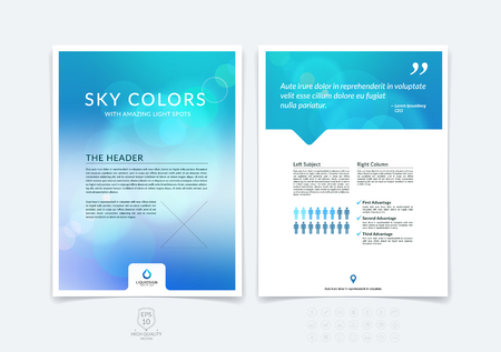Ilustración de Abstract business brochure, flyer and cover design layout template with blue and grey blurred background and light spots. - Imagen libre de derechos