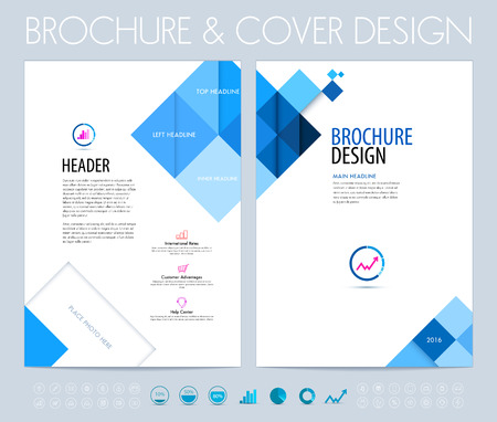 Ilustración de Business brochure, flyer and booklet design layout template with blue squares and polygons. - Imagen libre de derechos