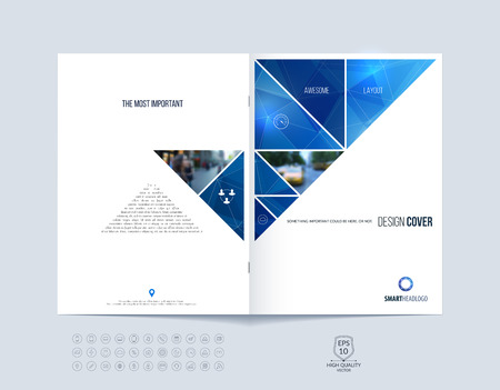 Ilustración de Brochure template layout, cover design annual report, magazine, flyer or booklet in A4 with blue dynamic triangular geometric shapes on polygonal background. Vector Illustration. - Imagen libre de derechos