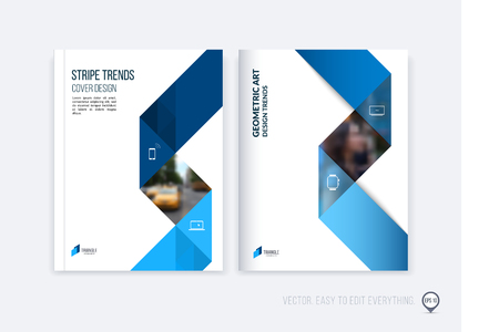 Ilustración de Brochure template layout; cover design annual report; magazine; flyer or booklet in A4 with blue dynamic triangular geometric shapes and folding stripe ribbon. Business vector Illustration. - Imagen libre de derechos