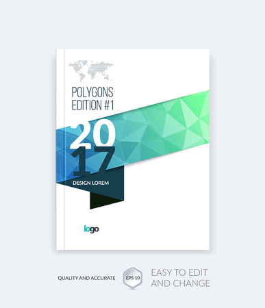 Illustration for Brochure template layout, cover design annual report, magazine, flyer, leaflet in A4 with blue triangles for business, technology and science and polygonal background. Vector digital pixel mosaic. - Royalty Free Image