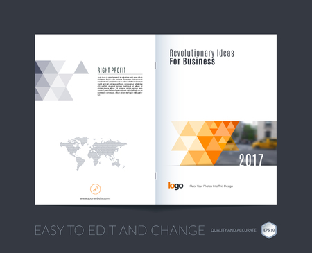 Illustration for Abstract brochure template, cover design annual report, magazine, flyer, leaflet in A4 with orange triangular shapes for business, technology in polygonal style with overlay effect. Vector. - Royalty Free Image