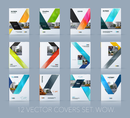 Illustration pour Vector design for cover annual report. Mega set. Brochure or flyer template in A4 with ribbon stripe shape in polygonal style for technology concept layout for business. Abstract modern vector. - image libre de droit