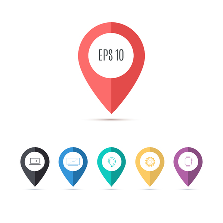Illustration pour Map pin flat design style modern icons, pointer minimal vector symbol, marker sign for infographics. - image libre de droit